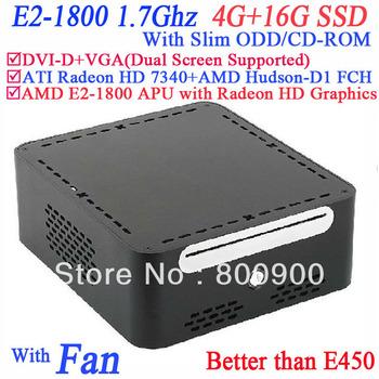 Free shipping mini pc desktop with AMD E2-1800 APU Radeon HD Graphics Windows or linux with Slim ODD CD-ROM 4G RAM 16G SSD