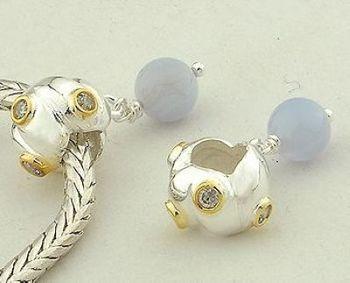 Yb043 925 pure silver jewelry diy beads swing bead silver beads