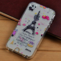 1pcs/Lot Sweet Cakes Paris Tower TPU Soft Case Cover Skin For Apple iPhone 4 4s Free Shipping