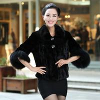 Queen 2013 slim fox cuff wool mink hair leather overcoat fur coat