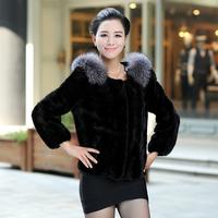 Queen 2013 autumn women's slim mink hair leather overcoat fox wool fur coat