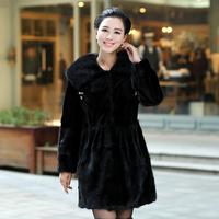 Queen 2013 autumn mink hair leather overcoat female fur slim outerwear