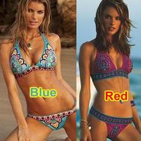 Print Sexy Victoria Women Bikini Swimwear & Swimsuit Inside Pads Indian Nylon Flower Blue Color Beachwear Free shipping 2014