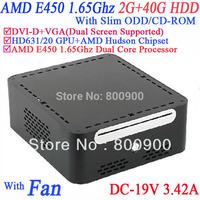 AMD APU E450 mini pcs with DVI-D 19V-DC Slim ODD CD-ROM 2G RAM 40G HDD AMD APU E450 1.65GHz Radeon HD6310 core windows or linux