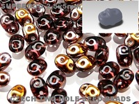 Czech Two-Hole Seed Beads SUPERDUO (2,5x5mm) 17 g AMETHYST CAPRI GOLD AB RK1085