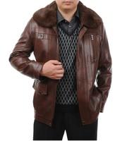 Free shipping !! 2013 hot sale men's New high-grade Sheepskin genuine leather black motorcycle leather coat jacket / M-4XL