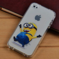 Free Shipping Items Cute Cartoon Dispicable Me Yellow Minion Soft TPU Case for iPhone 4 4s
