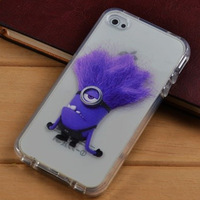 Cute Yellow Purple Minion Cartoon Items TPU Soft Cover For Dispicable Me For Apple iphone 4 4s