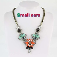 2013 Most Fashion Copper Plated Resin Fine Cube Necklace Pendant Crystal Necklace Free Shipping