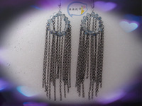 Ww accessories long earrings dulwich ore crystal vintage black long tassel chain romantic earring