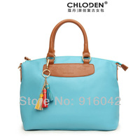 New Arrival 2013 Chloden Fashion Street Snap Retro Celebrity Tote Colorful Tassel Brand Design Coral Sea Women Bag Grace Handbag