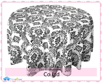 100% Brand New 90'' Round Black Color Taffeta Damask Tablecloths for Wedding Flocking Table cloth