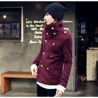 Autumn and winter men's clothing outerwear male woolen jacket male slim stand collar jacket thickening clothes male