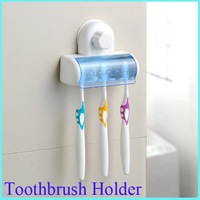 Home Bathroom Toothbrush SpinBrush Suction Holder Stand Rack Plastic Set 5 Bin[010446]