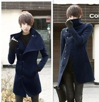 British style casual overcoat male slim medium-long woolen trench spring and autumn men's trench outerwear men's clothing