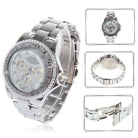 Wholesale Fashionable ROSRA White Hours Analog Dial Sports Diving Wrist Watch 370 (silver)