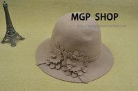 2013 woolen hat autumn winter flower bucket hats women's dome sun-shading wool felt hat