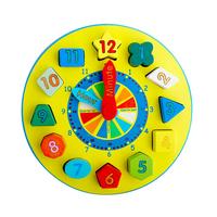 Digital clock shape wooden educational toy multicolour bulidking blocks toys