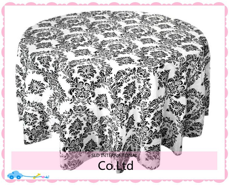 Free Shipping 108'' Round Black Taffeta Tablecloths for Wedding Flocking Table cloth Damask(China (Mainland))