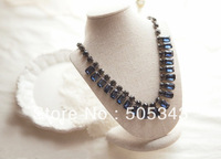 Fashion Decoration Gorgeous Quality Vintage Rhinestone Silver Gold Plated Alloy Necklace
