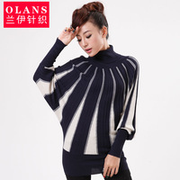 Olans spring and autumn new arrival fashion batwing sleeve stripe graphic patterns turtleneck slim sheep basic knitted sweater