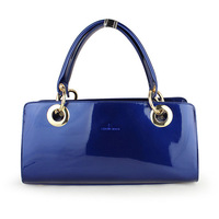 2013 winter fashion navy blue japanned leather bag ol white collar fashion bag patent leather female bags