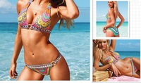 Print Flowers Fashion New 2013 Swimsuit Women Bikini VS Brand Swimwear for Women Bathing Suit Push Up Retro Free Shipping