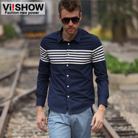 Viishow autumn long-sleeve shirt slim male casual stripe shirt male shirt men's shirt