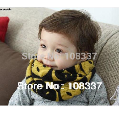 5pcs/lot winter knitting baby o scarf smile kids shawl ring muffler free shipping(China (Mainland))