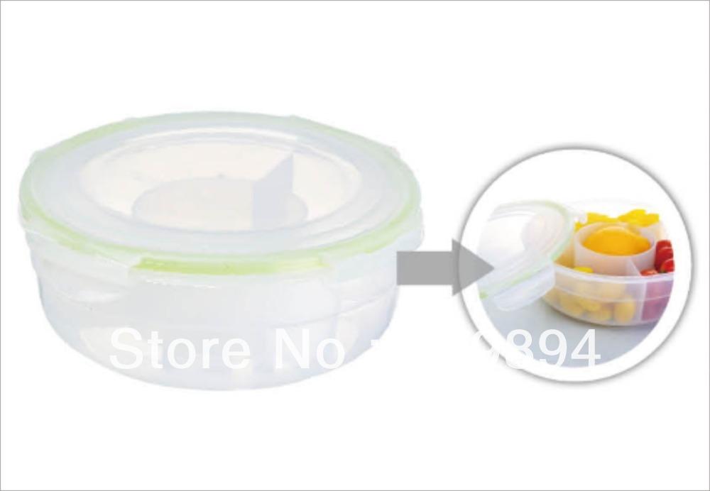 4 divisores hermético recipiente de alimento forma redonda(China (Mainland))
