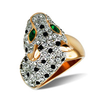 Leopard head crystal ring jewelry finger ring 38800685 38 female gift