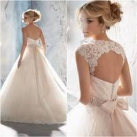 Hot sale  bow belt   removable  jacket tulle Wedding Dress  Bridal Gown
