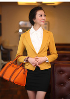 2012 slim one button turn-down collar blazer short jacket female suit 8802