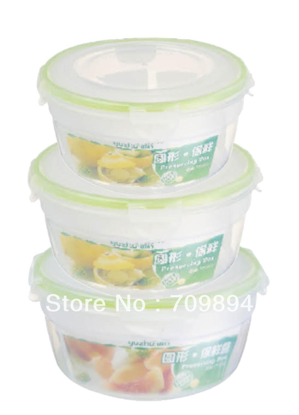Recipiente de alimento hermético conjunto forma redonda 3 pçs/set(China (Mainland))