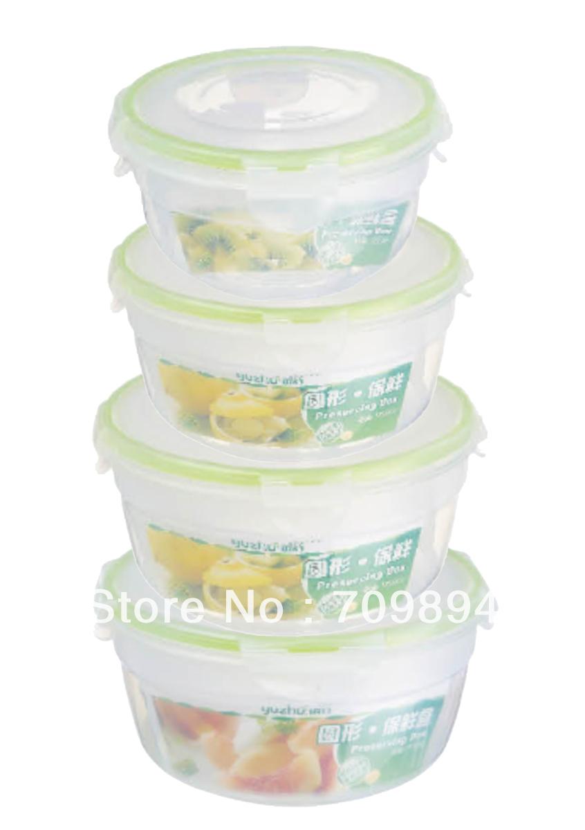 Hermético conjunto recipiente de alimento, forma redonda, 4pcs / set(China (Mainland))