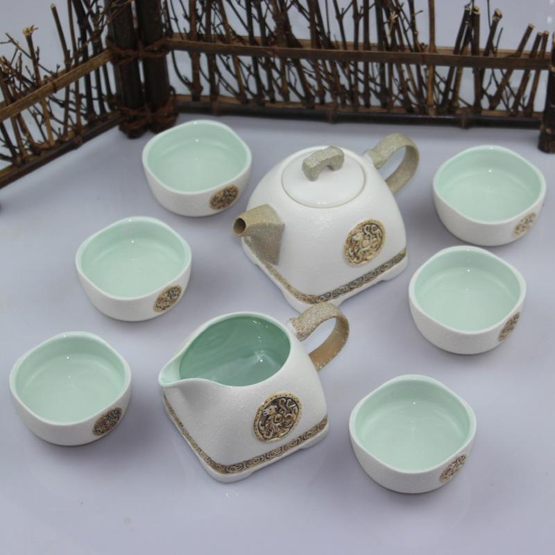 Kung fu tea set glaze tea set ceramic tea set teapot cup tureen 86 set