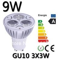 Hot sale!! 10pcs/lot GU10/E27/GU5.3 3X3W 9W Dimmable Led Spotlight AC85-265V Angle 30/60/90/120 degress lighting Free shipping