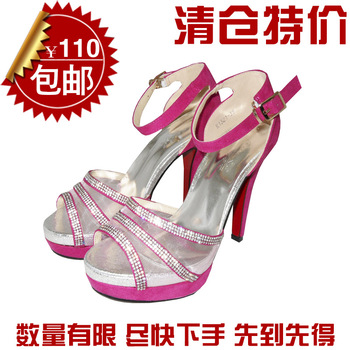 Women's shoes high-heeled sandals female high-heeled shoes open toe shoe 2013 rhinestone sandals 04