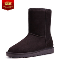 HOT SELL Zgr snow boots female genuine leather casual shoes leather shoes knee-high cotton boots hot-selling female FreeShipping