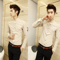 Trend 2013 shirt stand collar shirt fashion stripe long-sleeve shirt slim male