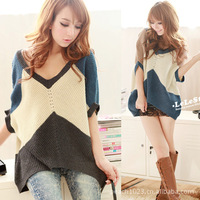 2013 new winter big yards fat people Maternity V-type mixed colors temperament was thin short-sleeved sweater bat sleeve HY01