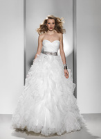 Princess Off the Shoulder Sweatheart Neck Sleeveless Floor-Length Organza Wedding Dress With Beading HWGJWD49