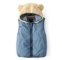 2013 New Fashion Winter Fur Hat Panda Ears Cotton Women Vest Jacket
