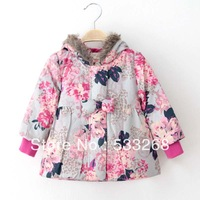 Free shipping 2013  girls clothing children female child flower with a hood cotton-padded jacket outerwear cotton-padded jacket