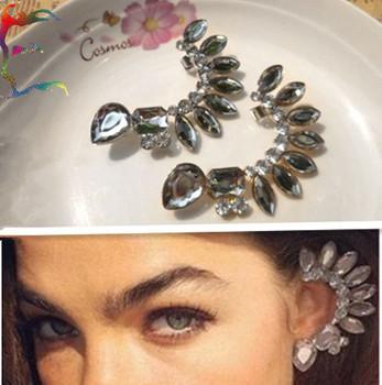 Wholesale 12pcs/Lot fashion Gold silver Big crystal earcuff stud earring gem rhinestone PUNK ear cuff jewelry Free shipping