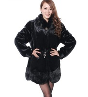 Free Shipping Excellent Plus Size Fur Collar Pocket Design Imitation Fox Fur Coat