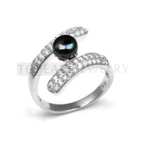 Topearl Jewelry Black Bread Pearl CZ Sterling Silver Rings SFR135