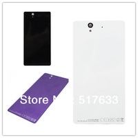 For  Sony Xperia Z C6603 L36 L36h LT36 Rear Back Cover Battery Door Housing glass white and black , free shipping+track code