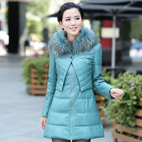 Genuine leather sheepskin vlsivery large raccoon slim down coat female twinset