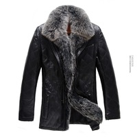 Free shipping ! ! ! Brand men's warm winter jackets , luxurious fox fur collar , Top Sheep Skin Leather Leather ,men's fur coat